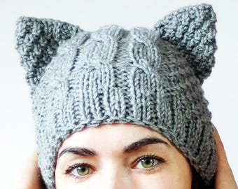 Pussy Cat Hat, Cat Ears Hat, Pussy Hat, Cat Beanie, Knit Pussy Hat, Grey Kitty hat, Cat lover gift, Gray Cat Beanie, Pussycat Beanie