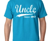 Uncle Since 2017 T-Shirt T-Shirt Tees Mens Gift Present Fathers Day Brother New Uncle Gift ideas for men