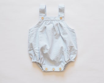 Baby romper, stripes, baby blue, pink, beige, wood buttons,0,3,6,9,12,18 months, body, summer, 100% cotton