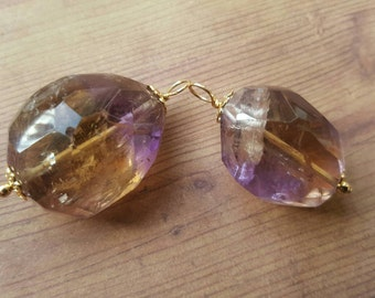 Balance and Purification - Stunning Faceted Ametrine Pendants with Gold Filled Elements