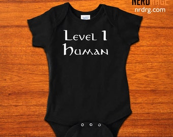 Level 1 Human Baby Onesie - World of Warcraft Level 1 Human Bodysuit - Dungeons and Dragons Level 1 Human Onepiece