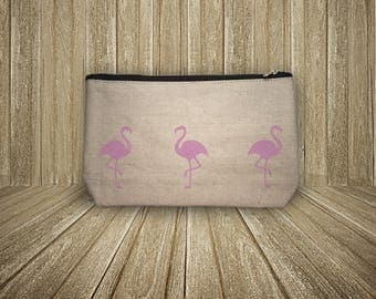 Zippered pouch pink flamingos (size L)