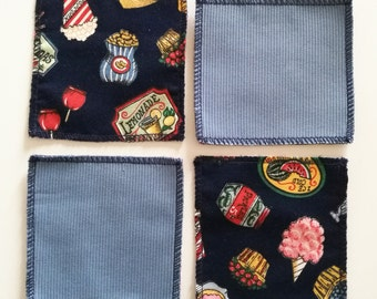 Cotton vintage food themed coasters