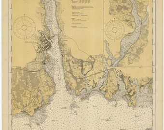 New London Harbor & Thames River Map 1924