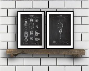 Thomas Edison Patent Prints - Set of 2 - Light bulb Patent, Thomas Edison Poster, Thomas Edison Blueprint, Thomas Edison art