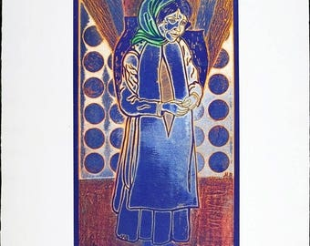 """Vintage Print Limited Edition Silkscreen Lithograph Pencil Signed """"Peasant Girl"""""""