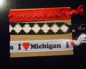 I Love Michigan FOE Hairties x 3  I heart Michigan NEW
