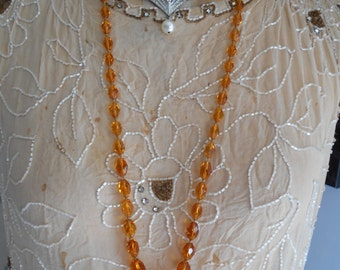 1920's Amber Glass Flapper Necklace