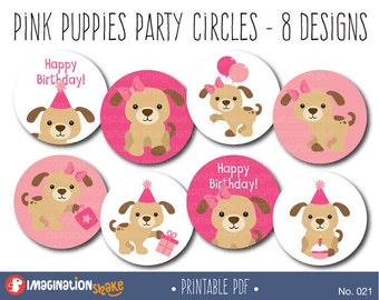 Pink Puppies Cupcake Toppers Party Circles PRINTABLE / Party Printables / Puppy Birthday Decorations / Puppy Cake Toppers / Pink Dogs / 022