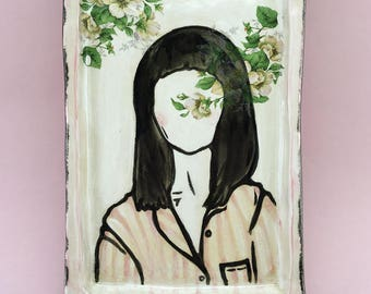 "ceramic illustration ""Blossom"", drawing of a girl with Flower Decals"