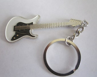 White and Black Guitar Key chain