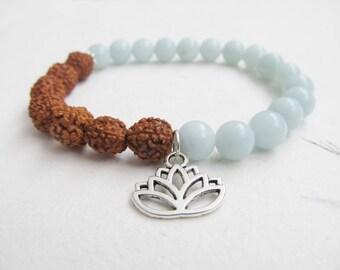 Rudraksha bracelet, yoga bracelet, amazonite bracelet