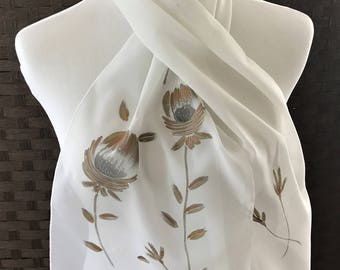 Beautiful Vintage Hand Painted Scarf for Barr & Beards Inc, Japanese Hand Painted Scarf, Vintage Scarf, Scarves, Vintage Accessories