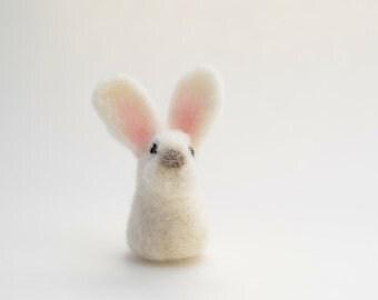 Needle Felted White Miniature Bunny, White Miniature Bunny Sculpture, READY TO SHIP, Bunny Gift, White Easter Bunny, Needle Felted Animal
