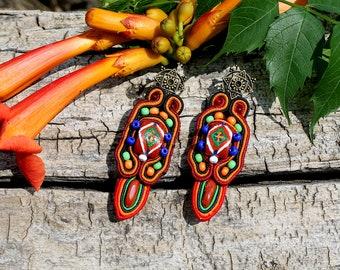 Multicolor soutache earrings Cute bright earrings. Ethnic earrings. A pattern on stone. Earrings with jasper.gift for her,  gift for mom