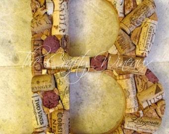 "Medium Classic Font Custom Handmade Artistic Wine Cork Letters or & Symbol for Wall, or General Decor - 9.5"""