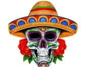 Sugar Skull decal, full color sugar skull decal, sombrero skull sticker, sugar skull laptop sticker, skull vinyl decal, vinyl sticker