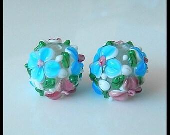 Lampwork Glass Beads - Lampwork Focal Beads - 3D Flower Murano Lampwork Beads,RJ25122