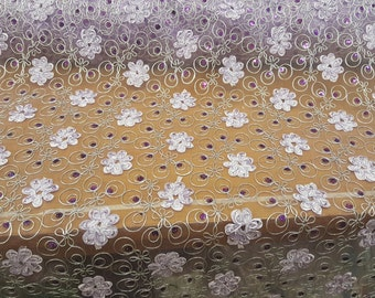 Lace Lavander flowers whit sequin fabric by the yard