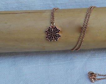 Cubic zirconia quaterfoil necklace
