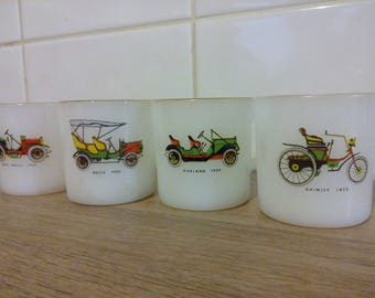 Set of four cups arcopal France collection cars old cups vintage