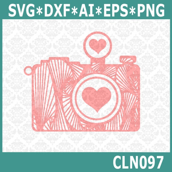 CLN097 Camera Zentangle Heart Love Photography Photographer SVG DXF Ai Eps PNG Vector Instant Download Commercial Cut File Cricut Silhouette