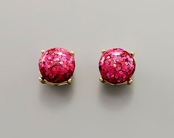Glitter Dome Stud Earrings