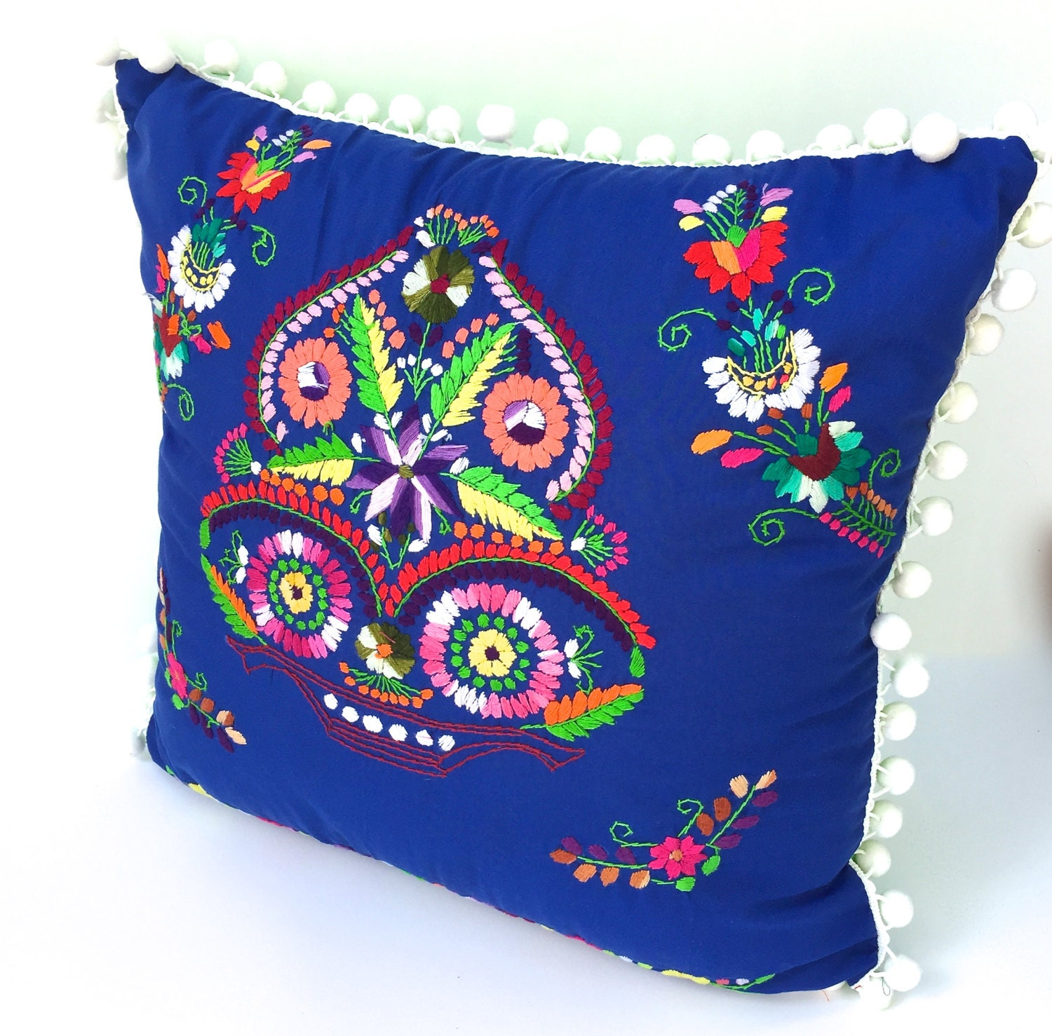 Throw Pillow Mexican Royal Blue Embroidered by TheBirdandPear