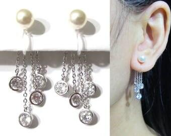 White Pearl Clip-on Earrings |24N| Dainty CZ Crystal Drop Fringed Tassel Dangle Clipon Earrings Wedding bridal Clip Earrings
