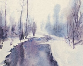Winter landscape, watercolor trees, snow painting, Misty trees, Misty landscape, Montana, winter trees, trees by River, snow landscape