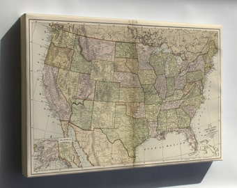 Canvas 24x36; Map Of The United States Of America 1896