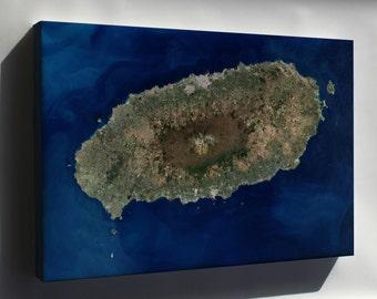 Canvas 24x36; Jeju Island Satellite Image Map