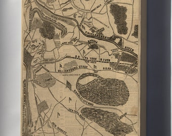 Canvas 24x36; Map Mcclellans Operations Richmond Virginia 1862