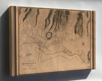 Canvas 24x36; Map Of Honolulu Hawaii And Vicinity 1887