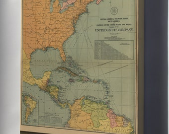 Canvas 24x36; Map Of Central & South America West Indies 1909