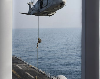 Canvas 24x36; Italian Marines Fast Rope From Eh101 Onto Uss Boxer Lhd 4 In 2013