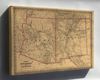 Canvas 16x24; Colton'S Map Of New Mexico And Arizona 1873