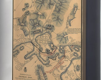 Canvas 16x24; Battlefield Map Of Franklin, Tennessee