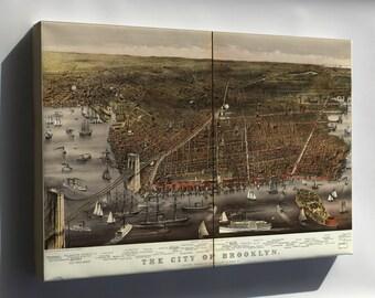 Canvas 16x24; Birdseye View Map Of Brooklyn New York City 1879