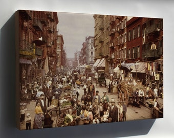 Canvas 16x24; Mulberry Street In New York City, Which Shows The Evocative Coloration Characteristic Of The Process. Photochrom