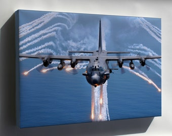 Canvas 16x24; Ac 130H Spectre Jettisons Flares