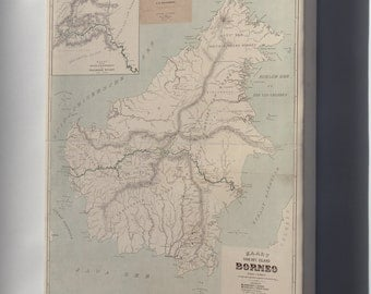 Canvas 16x24; Map Of Borneo 1902 In Dutch