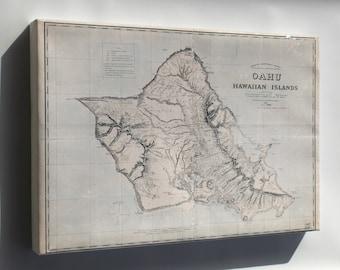 Canvas 16x24; Map Of Oahu Hawaii 1898