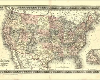 16x24 Poster; Map Of The United States Of America 1877