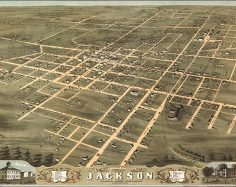 16x24 Poster; Birdseye View Map Of Jackson, Tennessee 1870