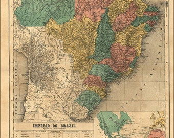 16x24 Poster; Map Of Brazil 1868 In Portuguese