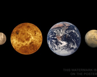16x24 Poster; Inner Planets (Left To Right) Mercury, Venus, Earth And Mars To Scale Terrestrial