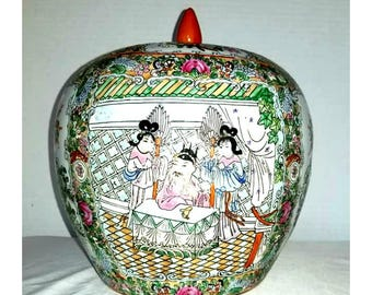 Vintage Chinoiserie Ginger Jar,Chinoiserie Vase,Ball Vase,Floral Vase,Hollywood Regency,Asian Vase,Floral Vase,Chinoiserie,Ginger Jar,Urn