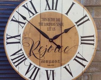 Large Wall Clocks, Religious Wall Clock, Bible Verse Art, Christian Art, Psalm Art, Bible Quotes Art, Wedding gift,  27 inch clock