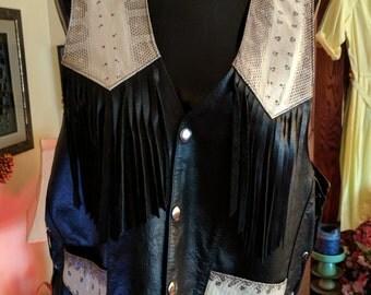 Vintage Western rockabilly leather vest.